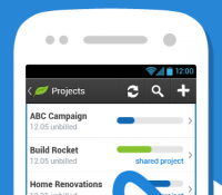Freshbooks has a handheld app. It also integrates with many common services!